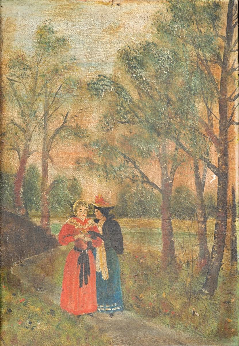 Landskap med to kvinner. Mørkt bilde. Motiv 2 damer på skogstur. Et lite tjern i bakgrunnen. Den ene i grønn lang kjole og den andre i rød. Gipsramme. Mye ødelagt. Rammen rikt dekorert med ornamenter. Ingen initialer på maler. Er i serie med FHM.10353