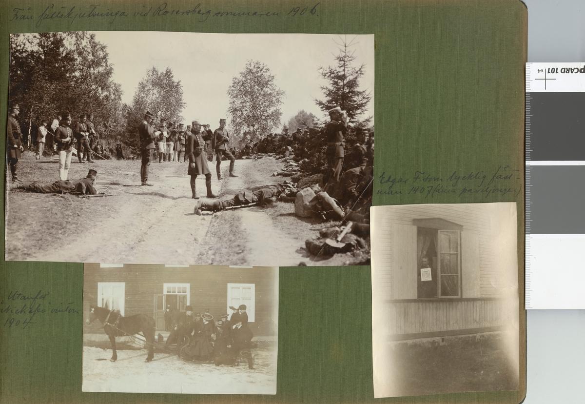"""Text i fotoalbum: """"Från fältskjutningar vid Rosersberg sommaren 1906."""""""