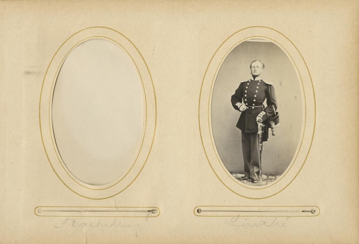 Porträtt av Johan Eugéne Lindhé, underlöjtnant vid Andra livgrenadjärregementet I 5.  Se även bild AMA.0001983.