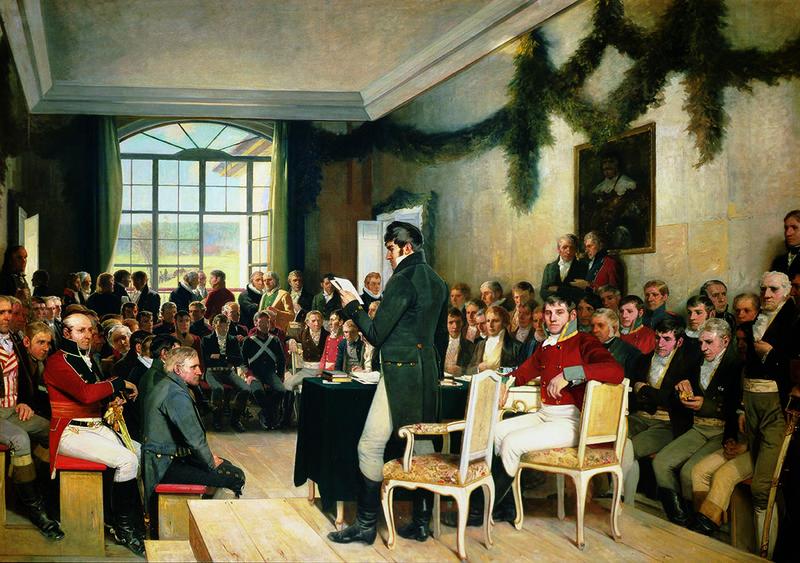 Oscar Wergeland (1844–1910) Eidsvold 1814, malt 1884–1885, olje på lerret, 285 x 400 cm. Stortingets kunstsamling. (Foto: Teigens Fotoatelier A/S / Stortinget)