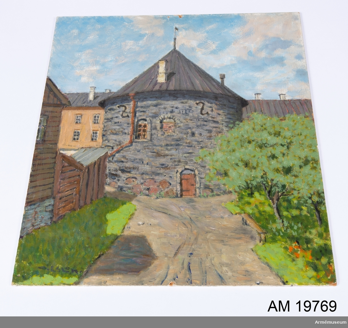 Oramad oljemålning föreställande Castell in Kuressaare, av O. Eslon.
