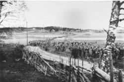 Uplandsfanteri på marsch under manövern 1916