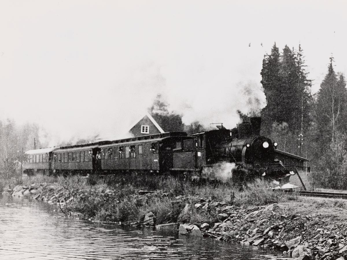 Damplokomotiv type 21b nr. 252 med veterantog Drammen-Rødberg-Drammen ved Kjerre holdeplass på Numedalsbanen
