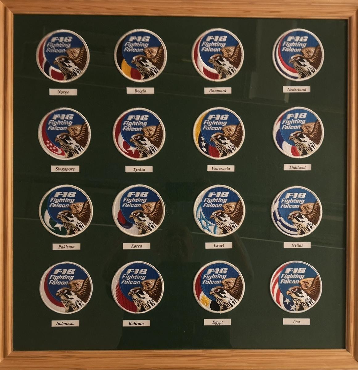 Billedramme med 16 patcher fra 16 forskjellige F-16 Fighting Falcon nasjoner.