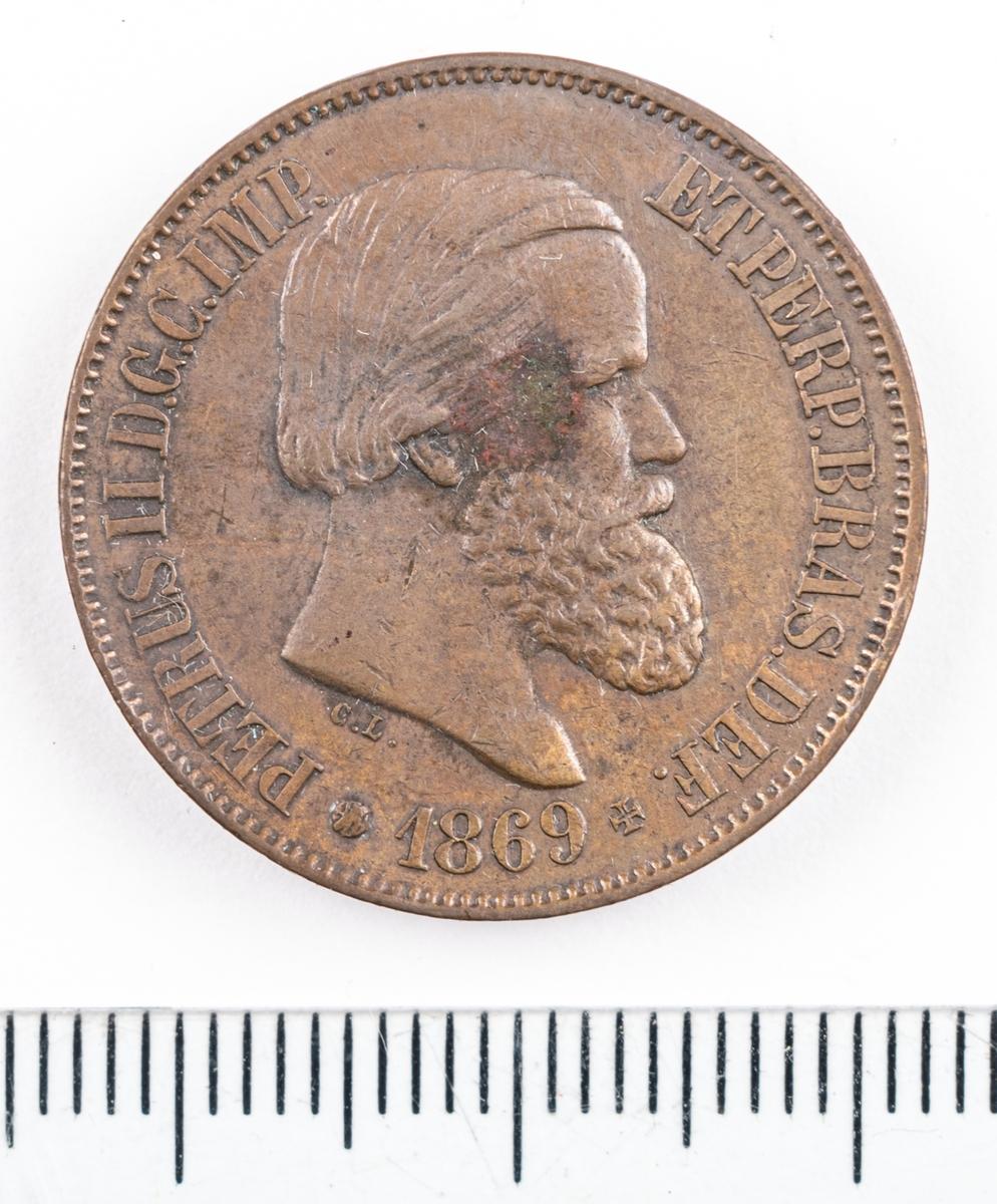 Mynt, Brasilien, 1869. 20 Reis