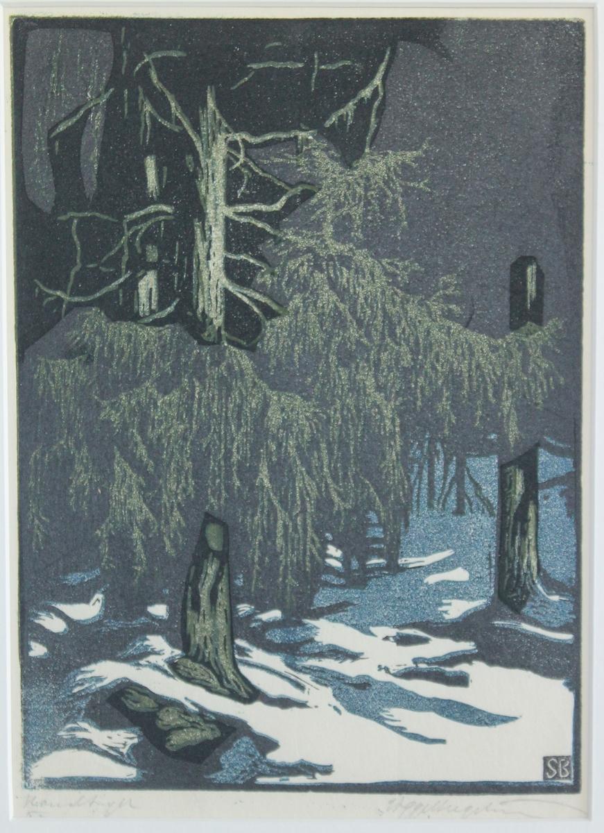 Op.13. Granar i snö [Träsnitt]