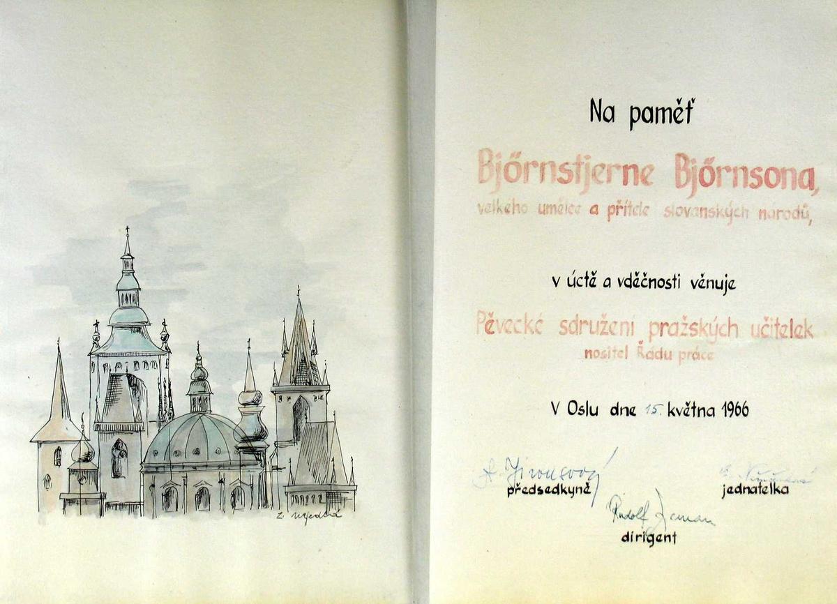 Tegnete kirkeprofiler i Praha, skrevet tekst.
