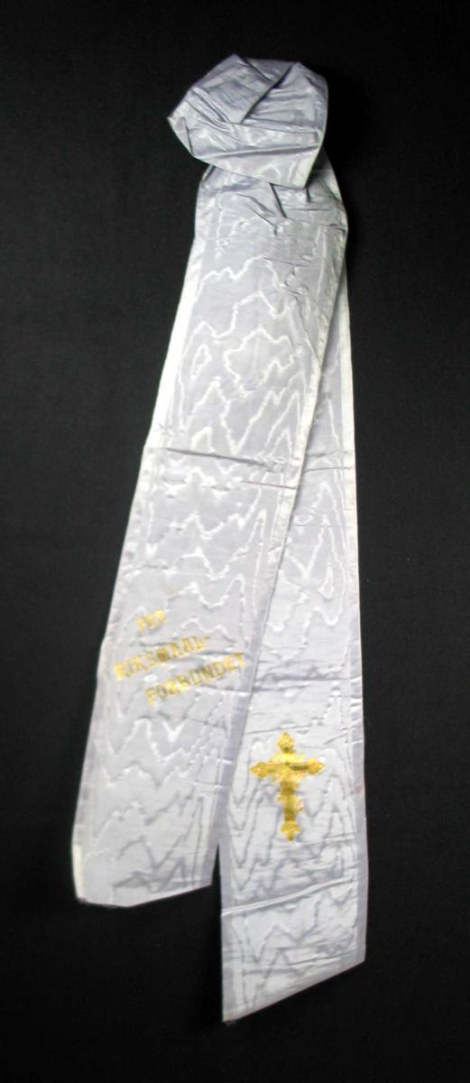 Begravelsessløyfe i hvit silke.