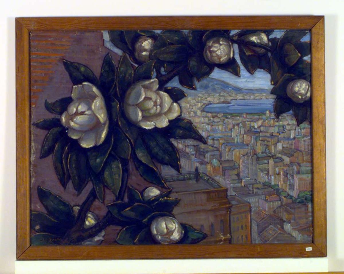 Utsyn over Napolibukten med Napoli. En stor gren med blomstrende magnolia slynger seg over halve bildet.