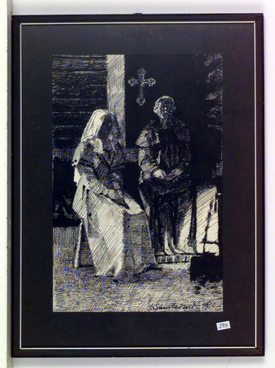 En nonne og en munk sitter under et kors.