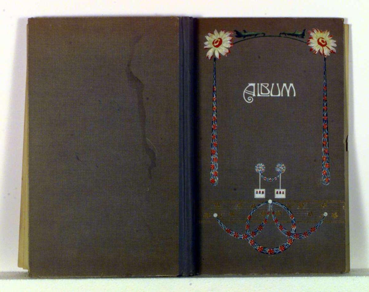 Blomsterdekor i jugendstil på forsiden av albumet.