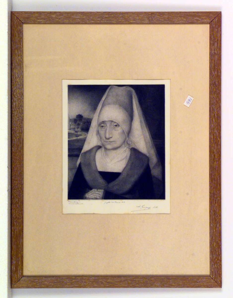 Portrett av gammel dame.