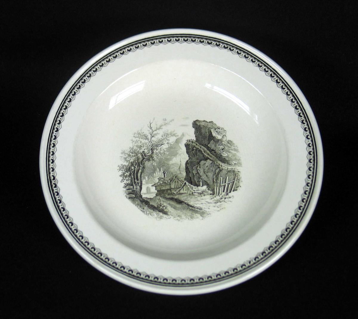 Suppetallerken i offwhite keramikk med sort dekor.