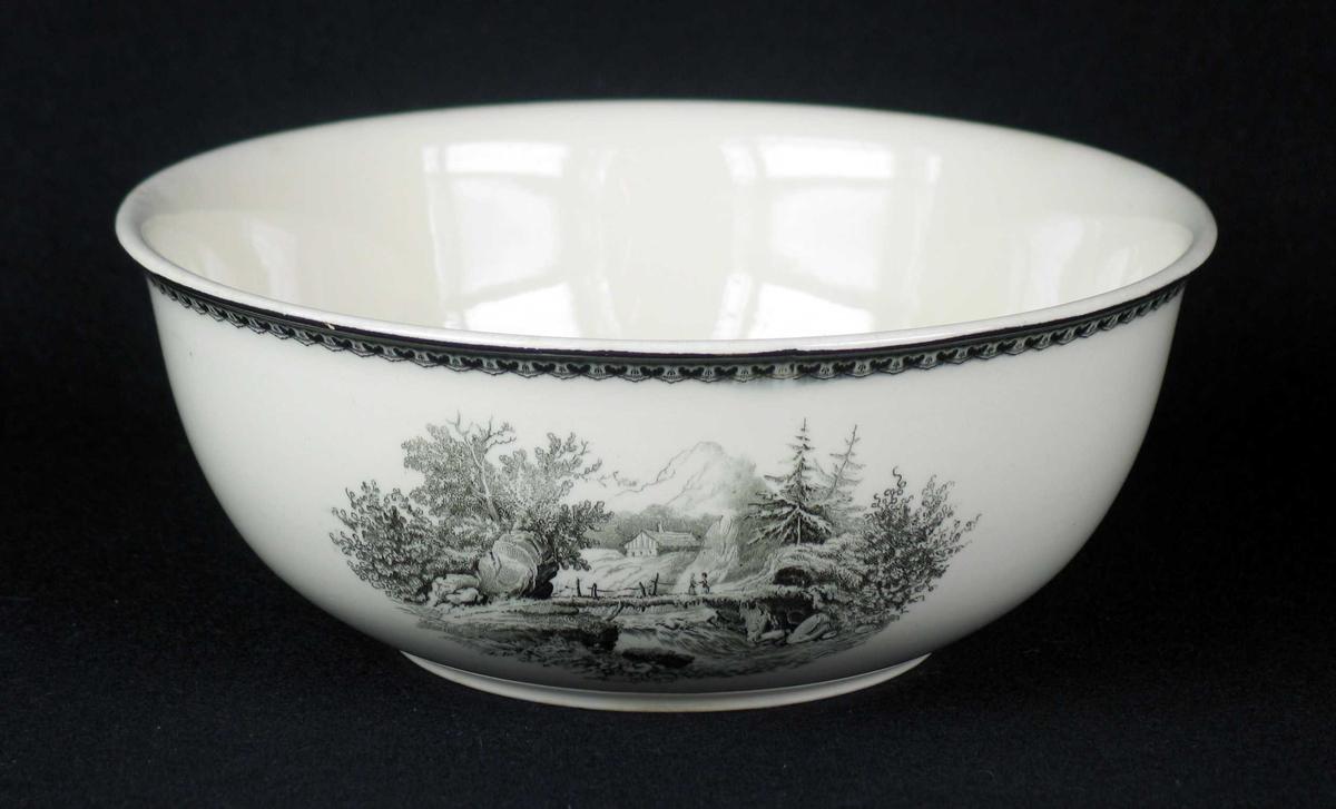 Bolle i offwhite keramikk med sort dekor.