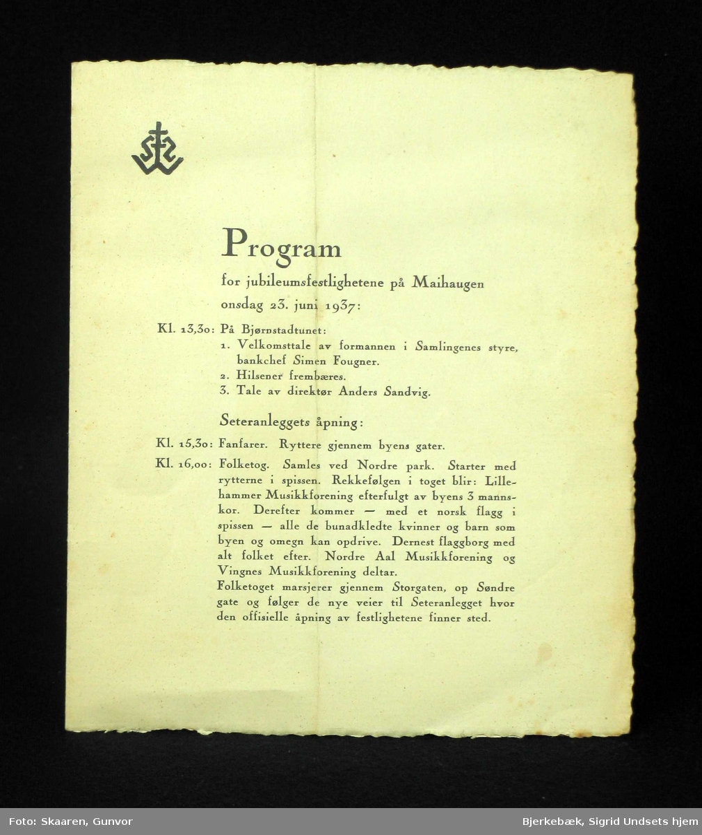 Program for jubileumsfestlighetene på Maihaugen 23. juni 1937. Et papirark på 2 blad (4 sider). Øverst til venstre er Maihaugens logo trykket.