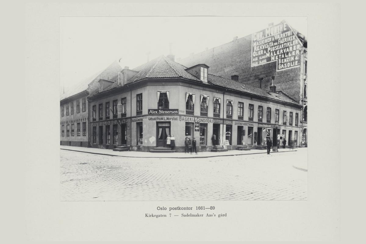 eksteriør, postkontor, Oslo, Kirkegaten 7, Sadelmaker Aas's gård, 1661-89