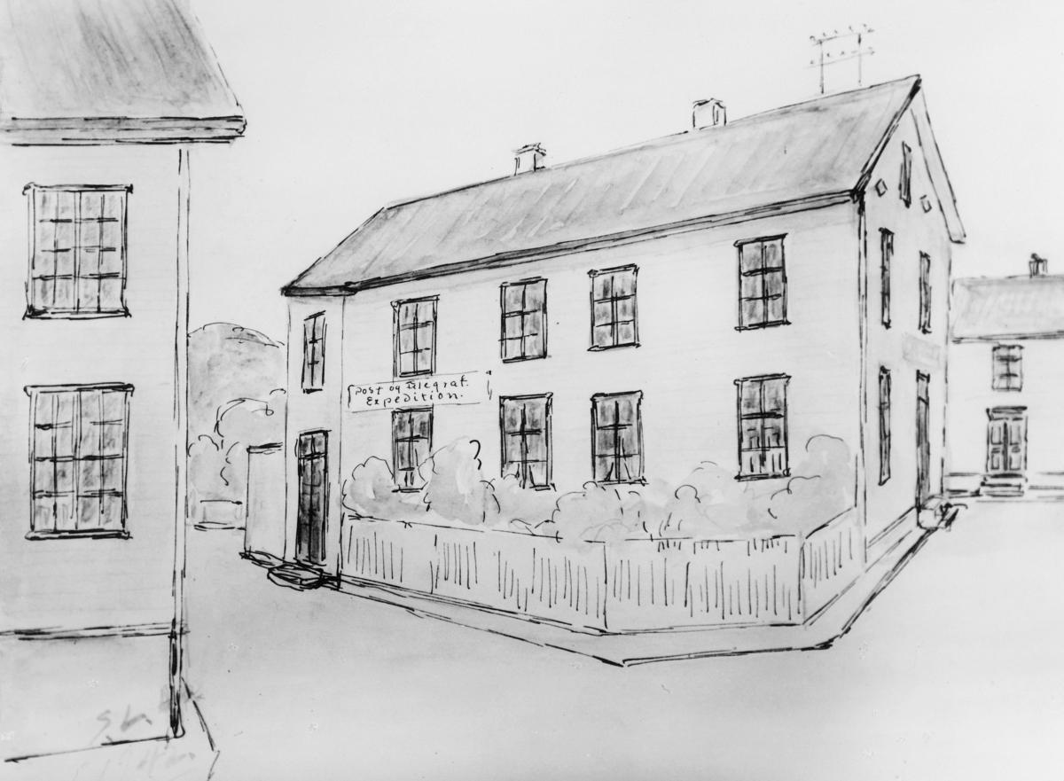 tegning, Flekkefjord post og telegraf, akvarell
