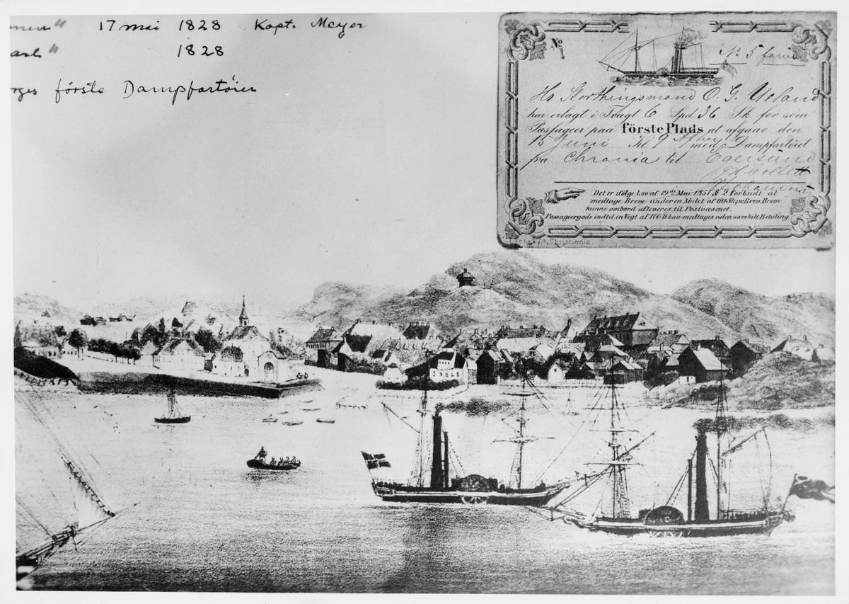 tegning, Stavern, D/S Constitutionen, D/S Prinds Carl