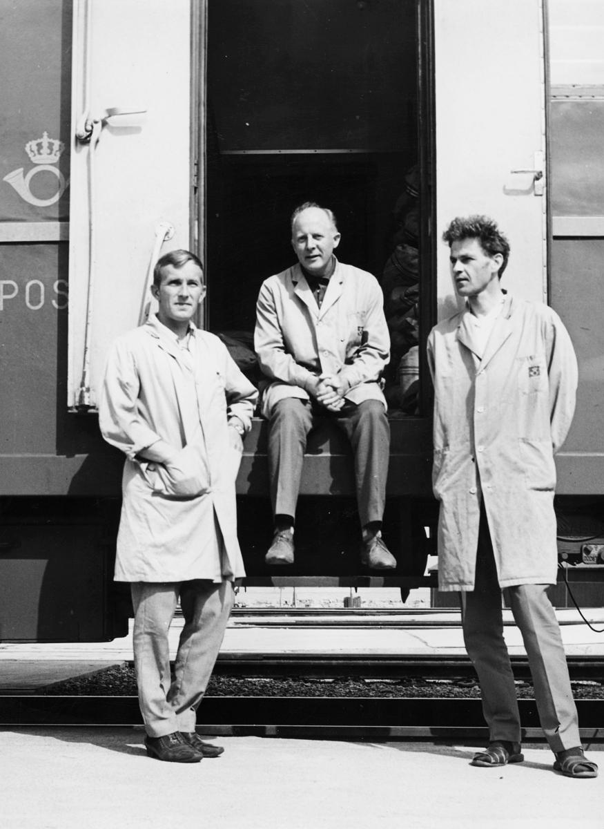 transport, tog, Dovrebanen, postemblem, tre menn