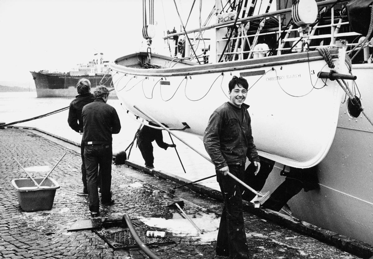 transport, båt, Christian Radich, livbåt, tre gutter