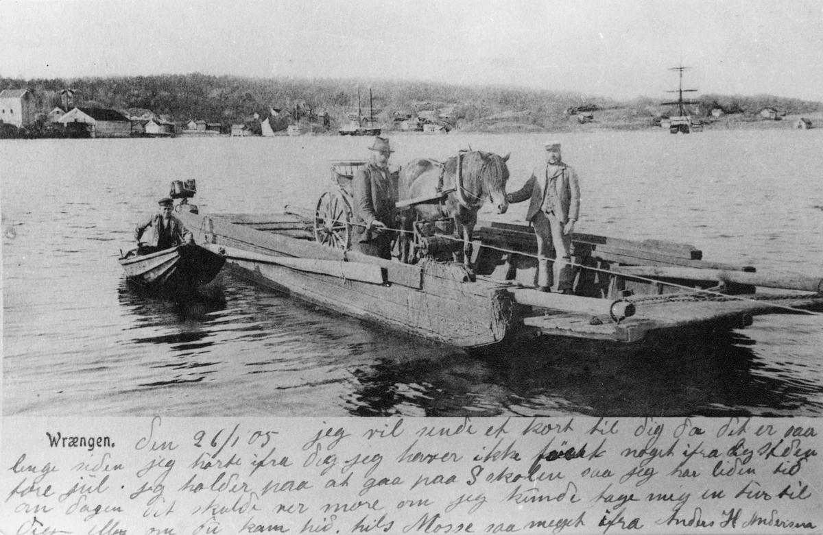 transport, båt, på vann, hest, vogn, tre menn