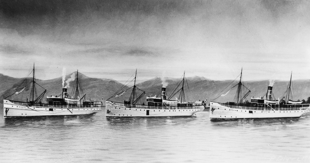 transport, båt, dampskipene Herlaug, Rollaug, Folla