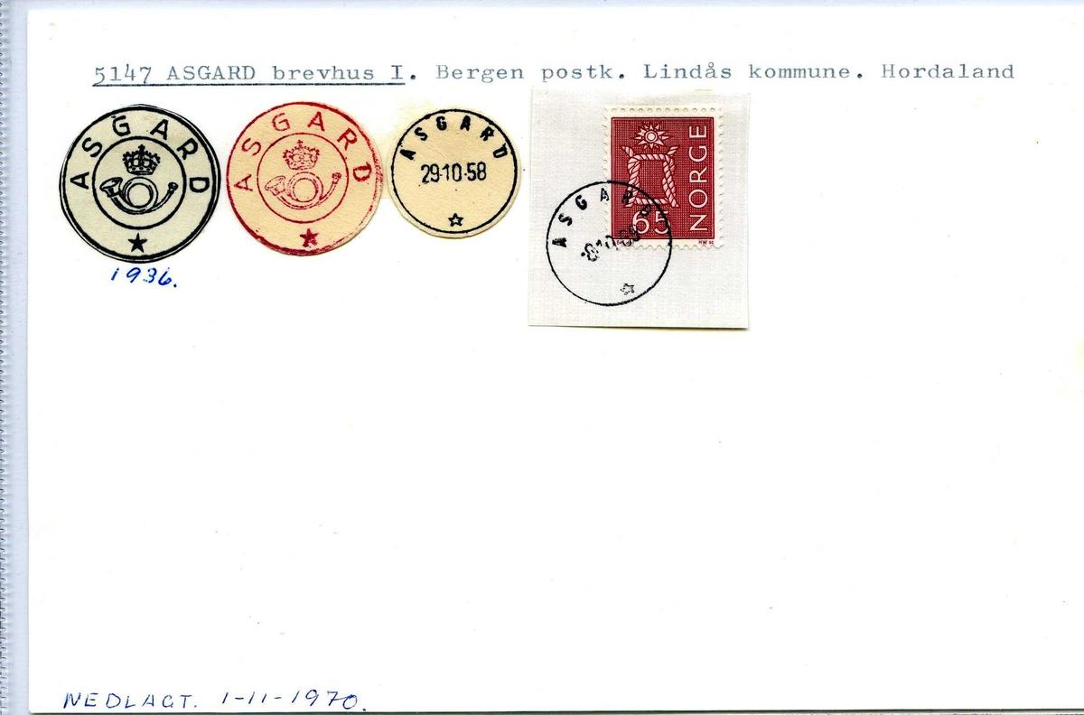Stempelkatalog, 5147 Asgard, Bergen, Lindås, Hordaland