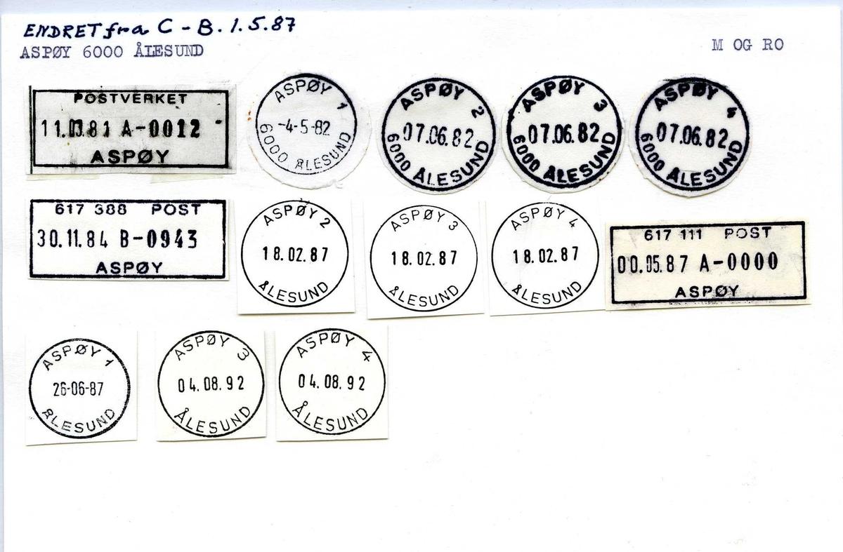 Stempelkatalog, Endret fra C-B 01.05.1987. Aspøy 6000 Ålesund. Møre og Romsdal.