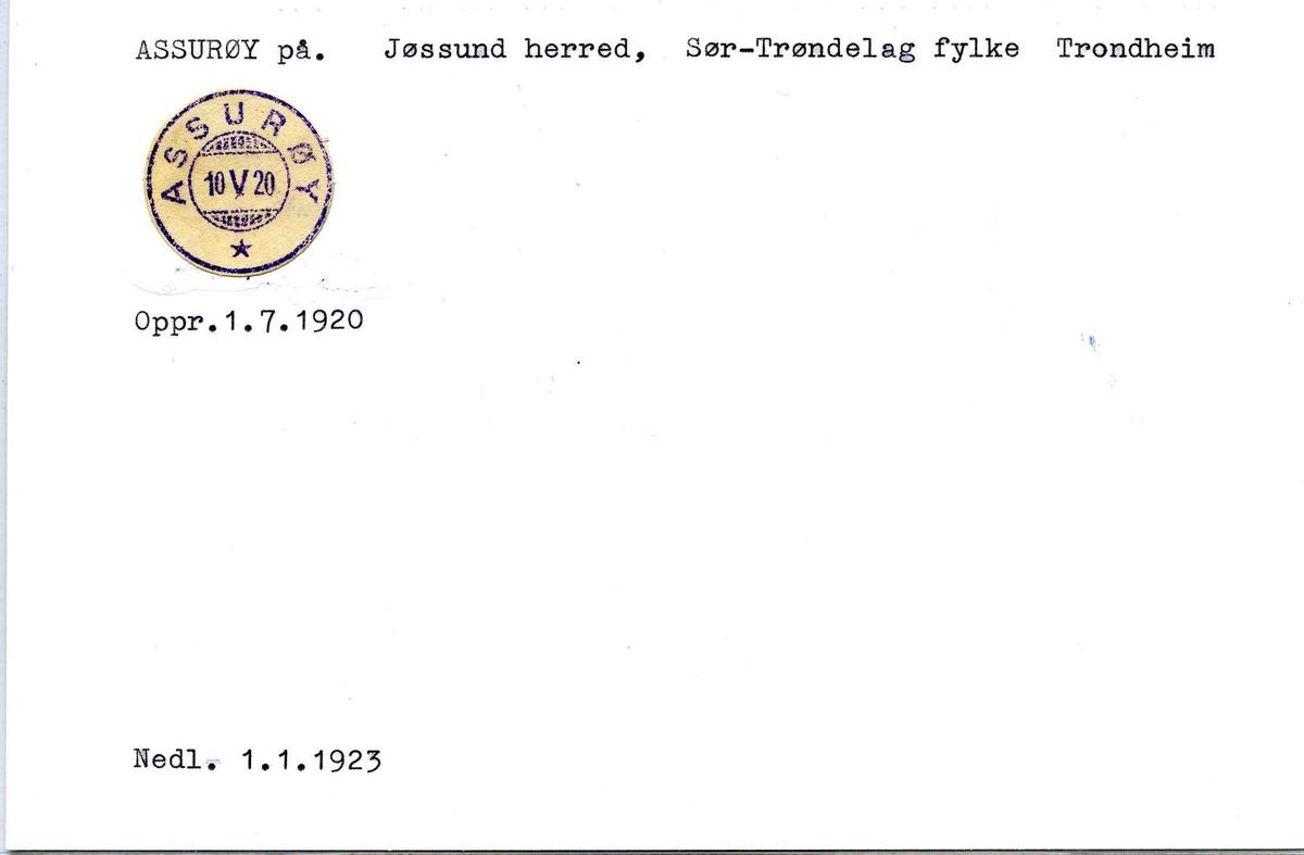 Stempelkatalog, Assurøy poståpneri. Jøssund herred. Trondheim. Sør-Trøndelag fylke.