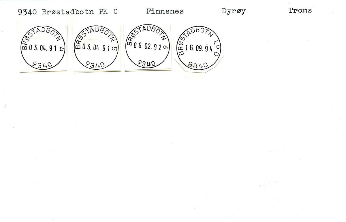 Stempelkatalog, 9340 Brødstadbotn. Finnsnes postkontor. Dyrøy kommune. Troms fylke.