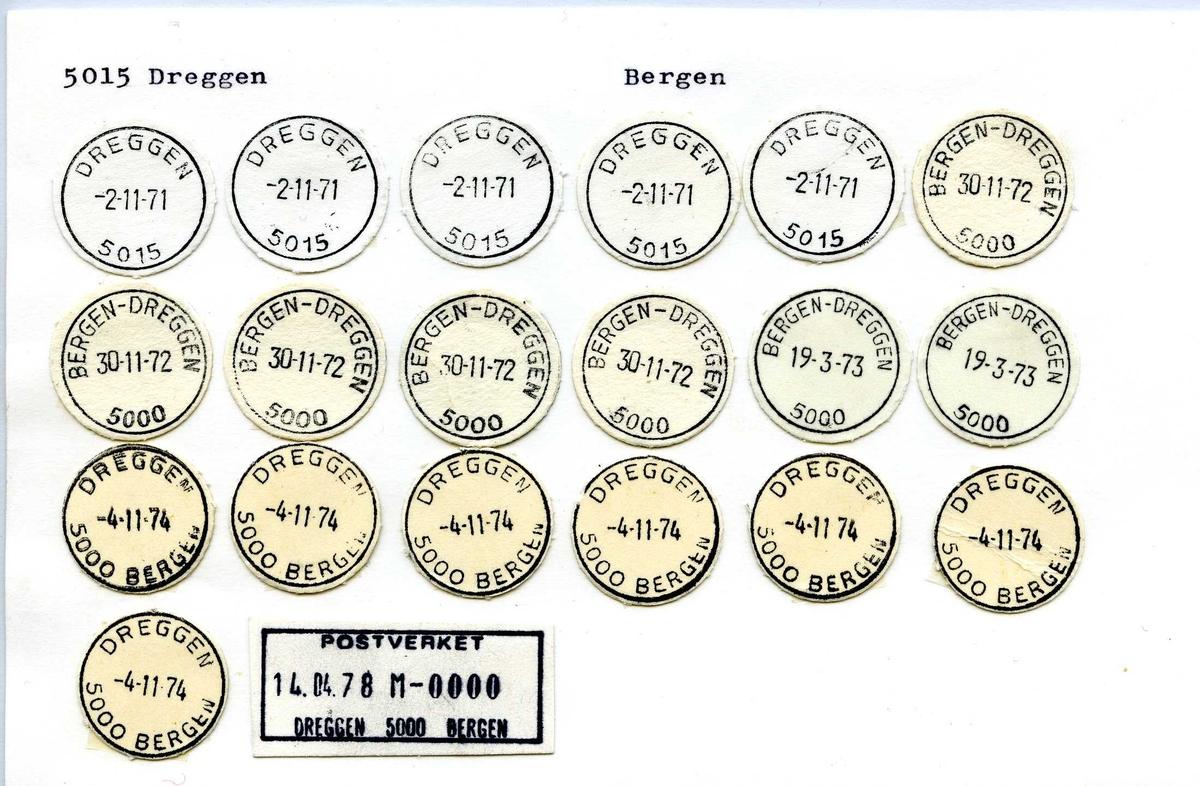 Stempelkatalog, 5015 Dreggen, Bergen