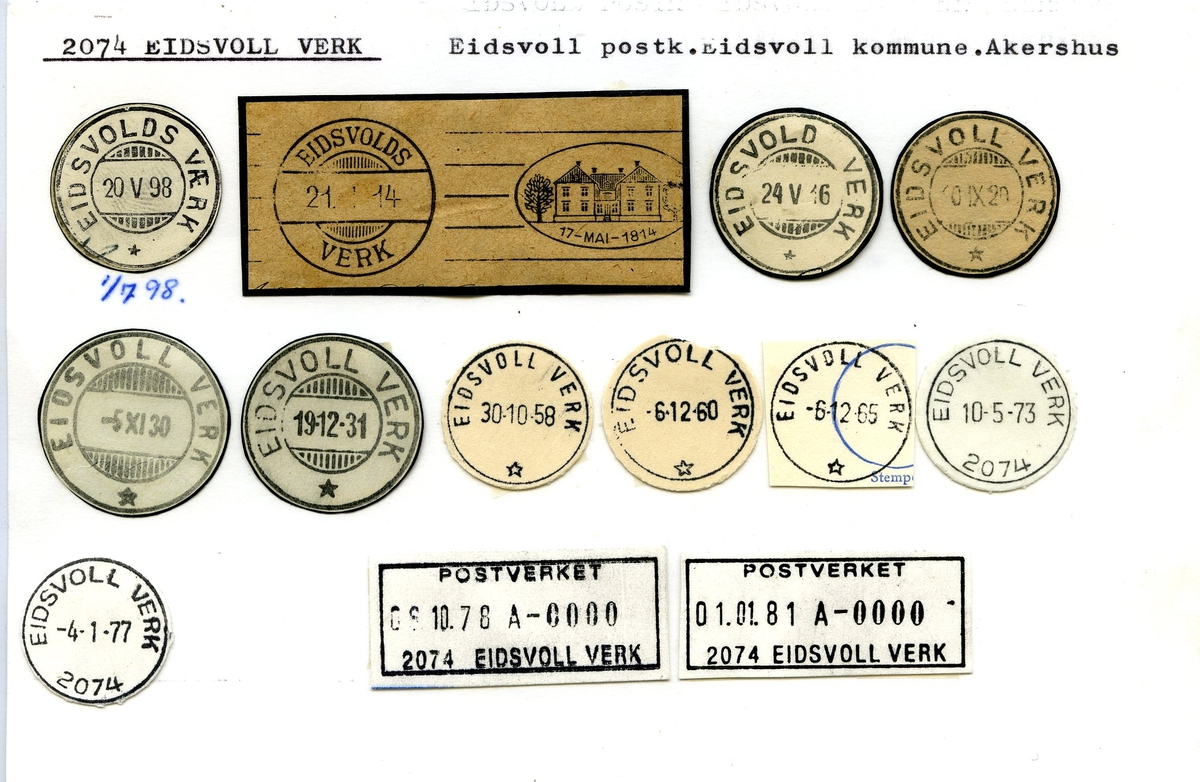 Stempelkatalog. 2074 Eidsvoll Verk, Eidsvoll kommune, Akershus