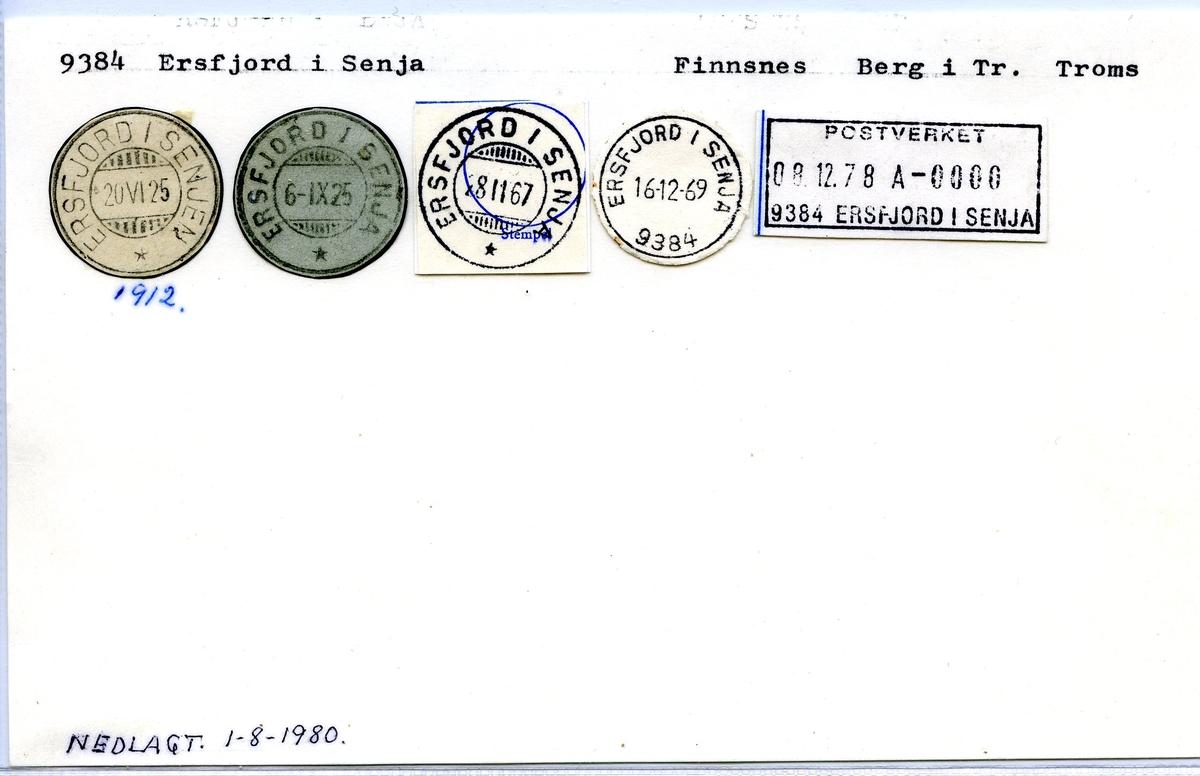 Stempelkatalog,9384 Ersfjord i Senja, Finnsnes, Berg i Tr. Troms