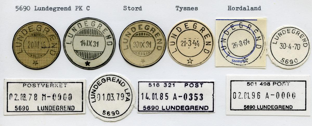 Stempelkatalog, 5690 Lundegrend, Stord, Tysnes kommune, Hordaland