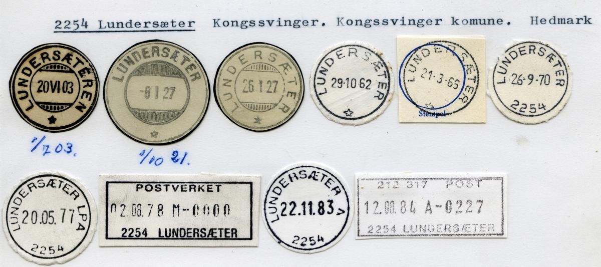 Stempelkatalog, 2254 Lundersæter, Kongsvinger kommune, Hedmark