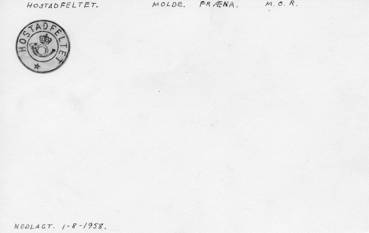 Stempelkatalog. Hostadfeltet, Molde postk., Fræna kommune, Møre og Romsdal (Nedl. 1.8.1958)