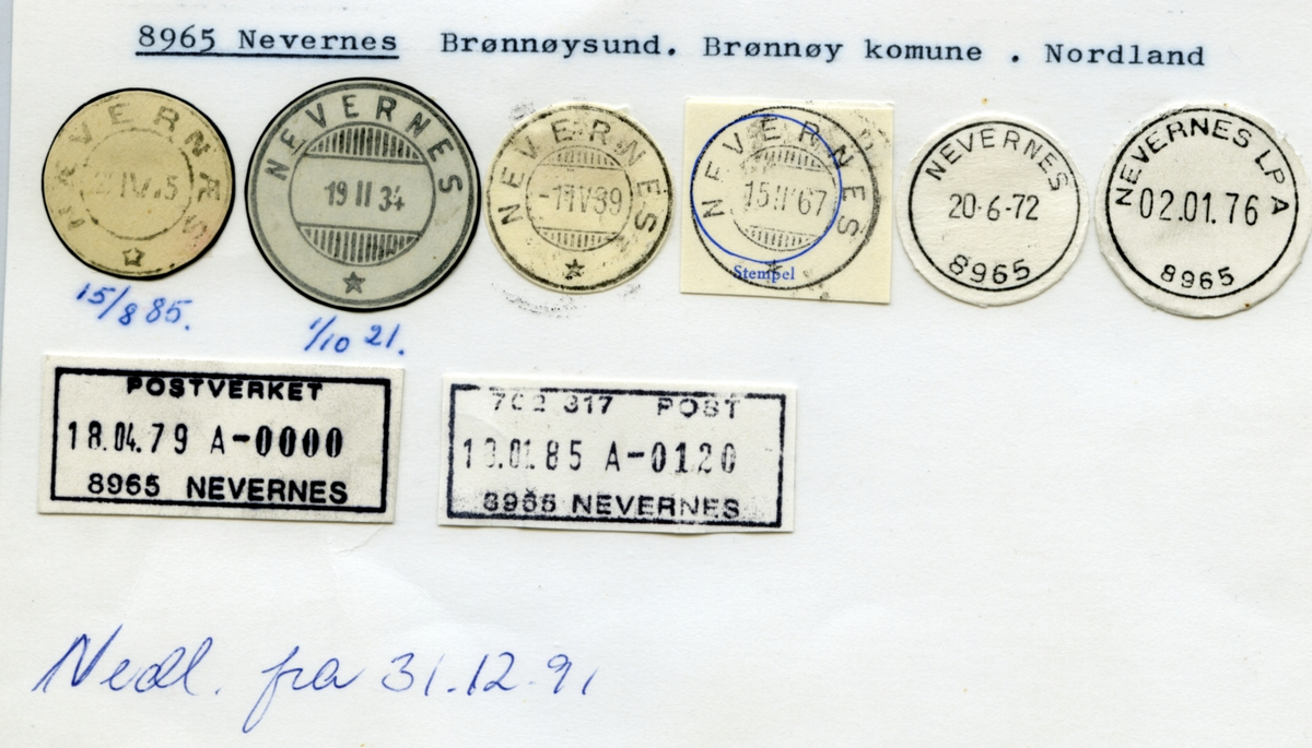 Stempelkatalog  8965 Nevernes (Nævernæs), Brønnøysund, Brønnøy, Nordland