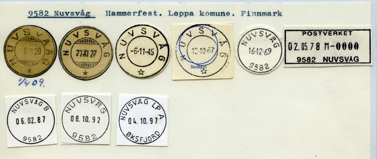 Stempelkatalog. 9582 Nuvsvåg. Hammerfest postkontor. Loppa kommune. Finnmark fylke.