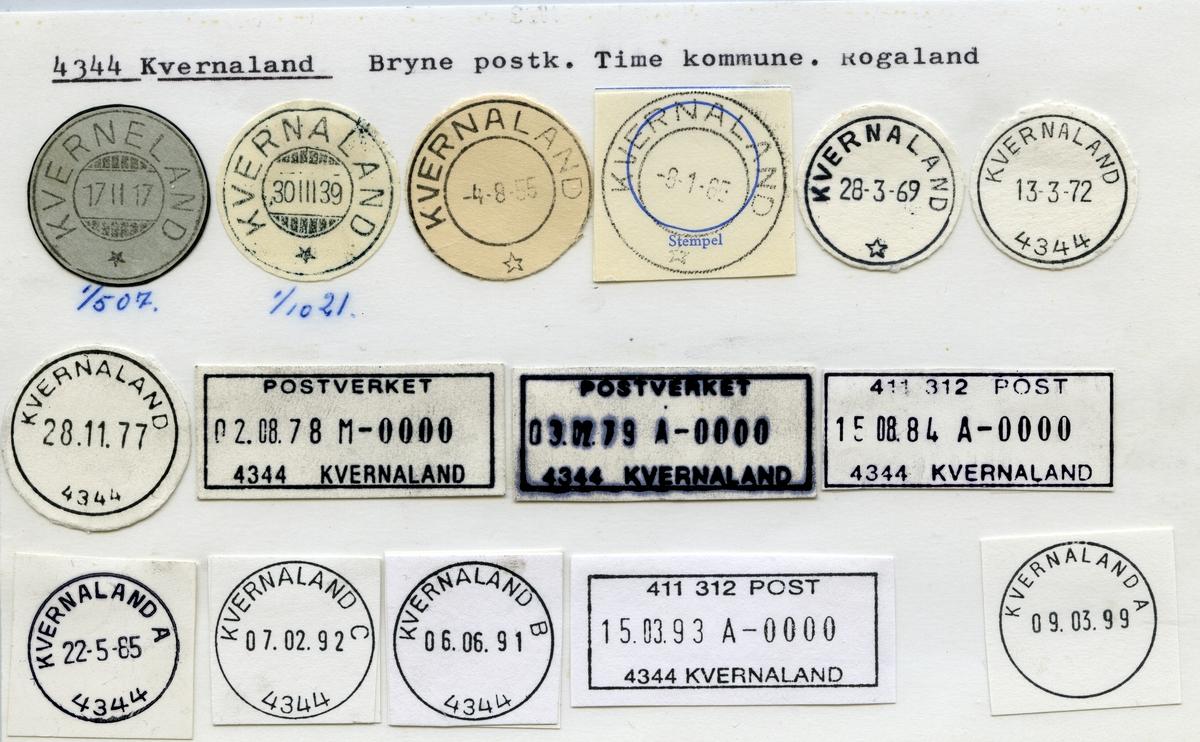 Stempelkatalog 4344 Kvernaland, Bryne, Time, Rogaland