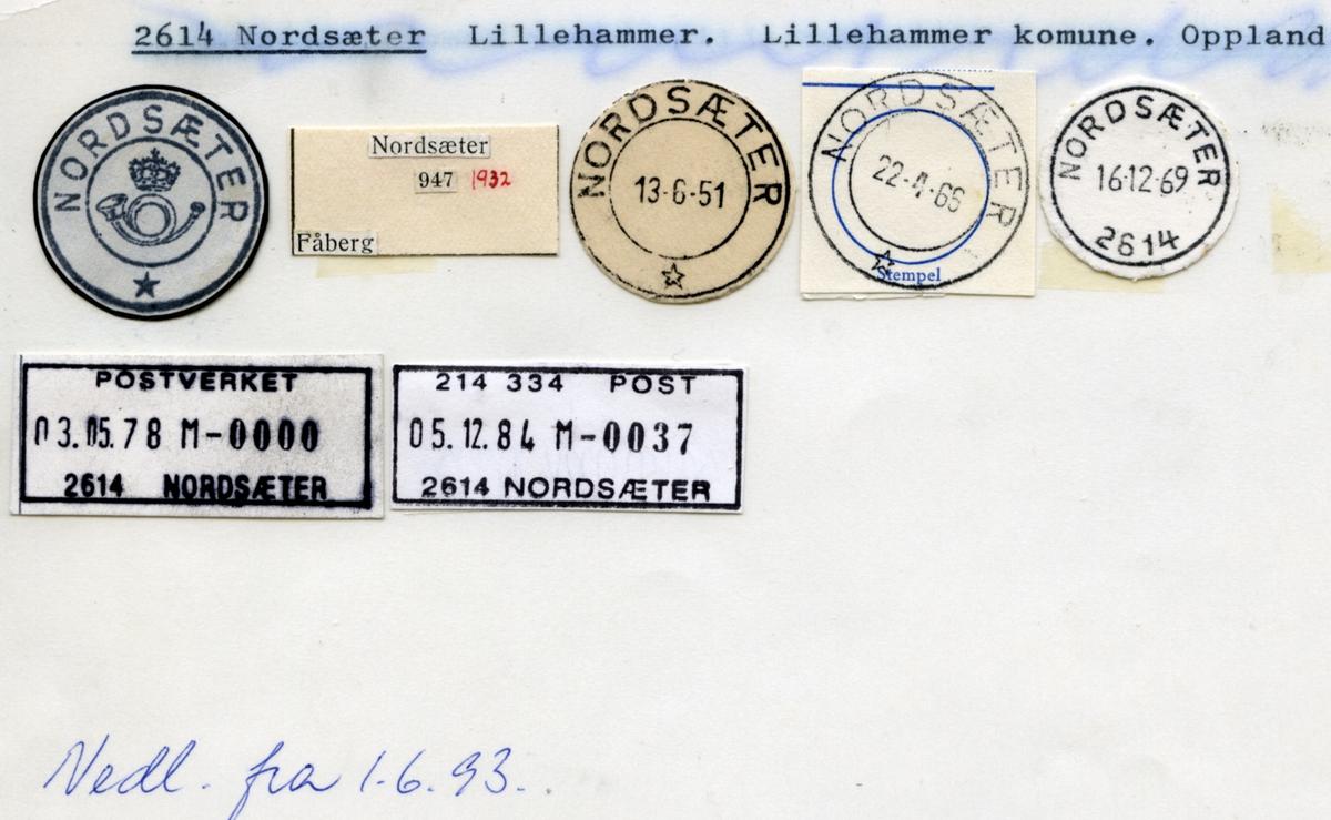 Stempelkatalog.2614 Nordsæter. Lillehammer postkontor. Lillehammer kommune. Oppland fylke.
