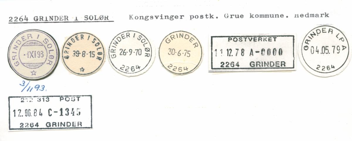 Stempelkatalog 2264 Grinder i Solør, Kongsvinger, Grue, Hedmark