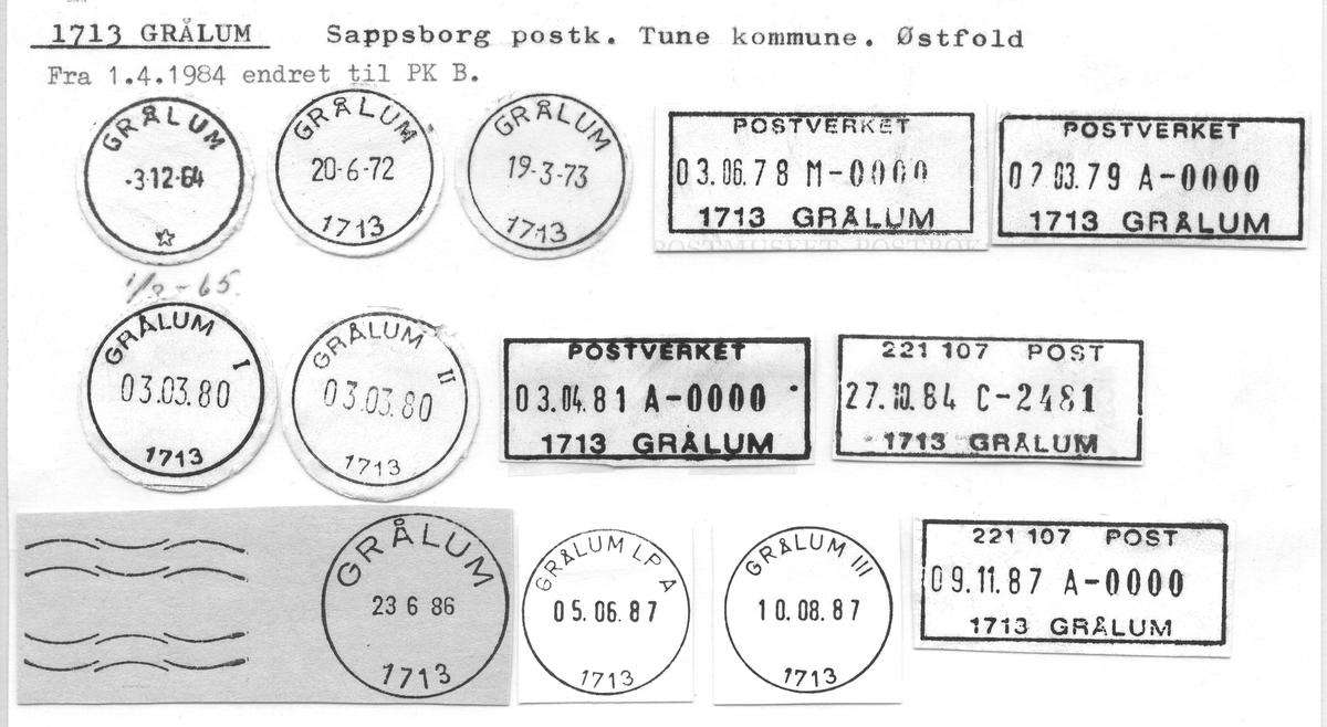 Stempelkatalog 1713 Grålum, Sarpsborg, Tune, Østfold