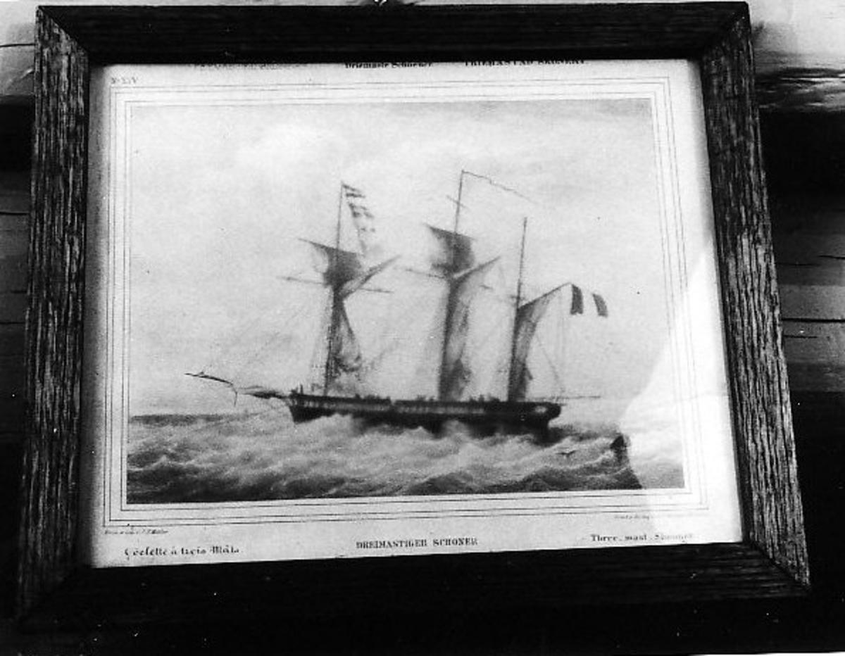 Seilskip med flagg Tremastet skonnert