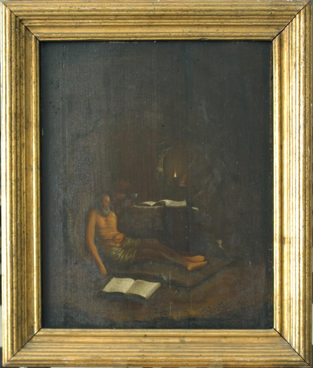 Helgenmotiv. I en grotte, halvt sitter, halvt ligger den hellige Hieronymus, en gråskjegget, naken olding, kun med et lendeklede, høyre hånd henger slapt ned langs siden, i venstre holder han et lite sort trekors. Hieronymus er hensunket i dyp meditasjon. På et bord med grov duk i bakgrunne, svakt opplyst av en liten lampe, sees en stor foliant, en liten amfora og et krusifiks. Oppslått på marken i forgrunne ligger en stor foliant. Gresstrå og vekster helt i nedre bildekant, hele bakgrunnen fortaper seg i brunt mørke, antagelig grotten. En liggende løve vil kanskje finnes tll høyre for helgenens føtter ved rensing av bildet.