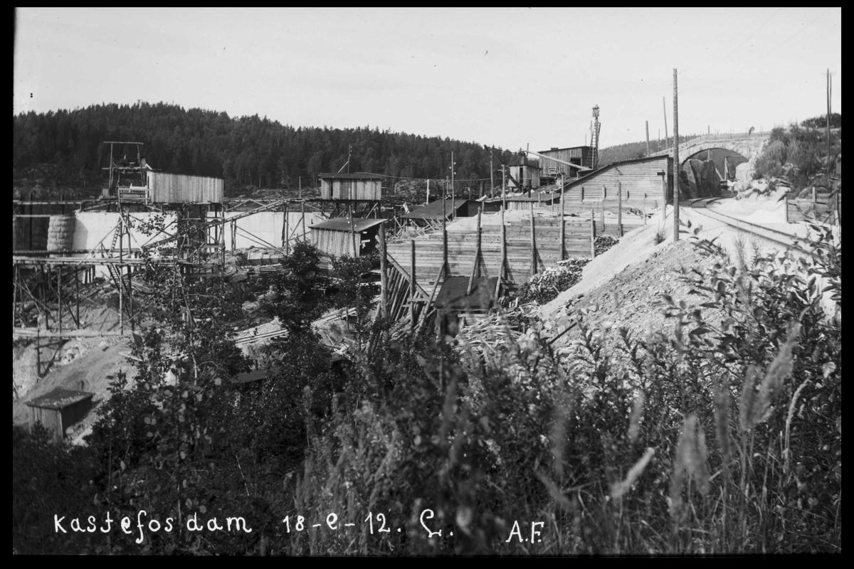 Arendal Fossekompani i begynnelsen av 1900-tallet CD merket 0565, Bilde: 6 Sted: Haugsjå Beskrivelse: Kastefoss dam