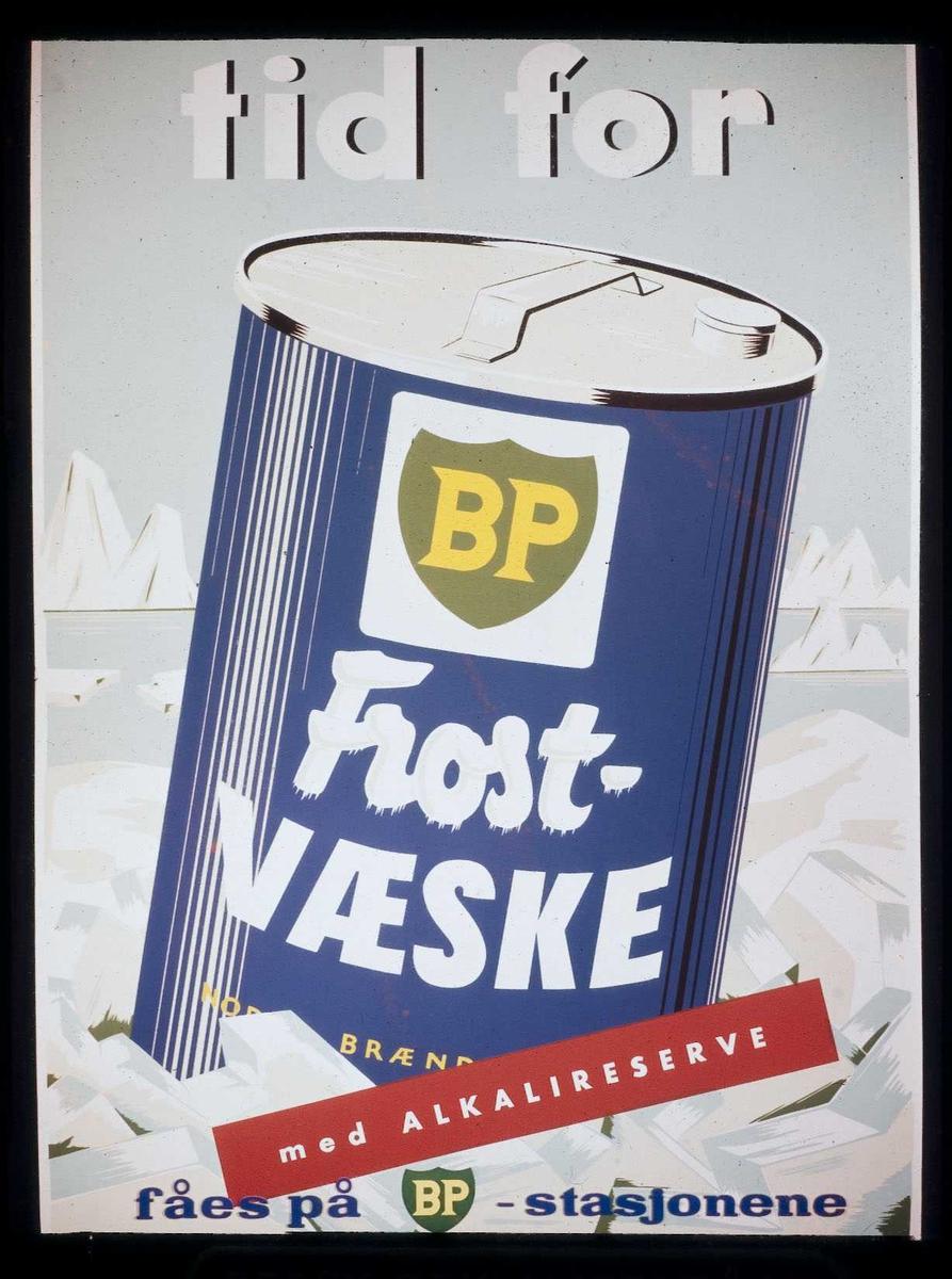 Kinoreklame fra Ski for BPs frostvæske. Tid for BP Frostvæske med alkaliereserve, fåes på BP-stasjonene.
