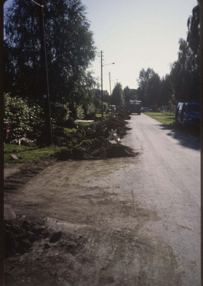Gravearbeid i gate i Lillestrøm.