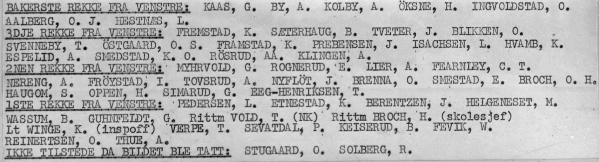 Befalskolen 1939/40. På bilde 2 er navnene på de som er på bildet.