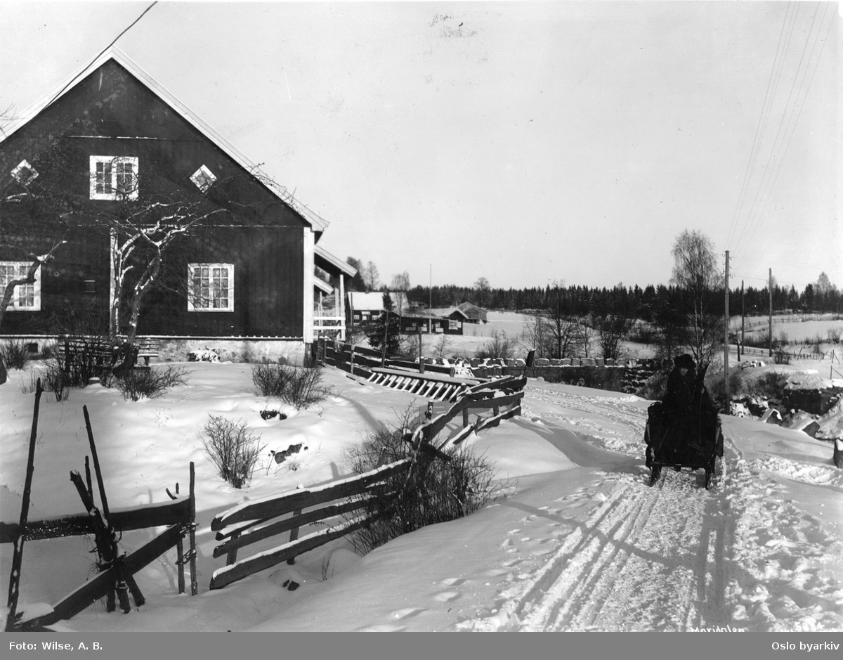 Ved Hammeren. Arbeiderbolig for stangjernshammeren til venstre, og brua over Skarselva i bakgrunnen.