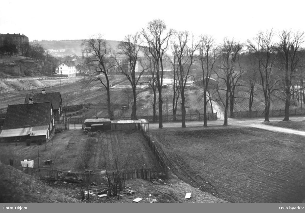 Tøyens østre portstuer til venstre, nå i bruk som kommunale boliger, Tøyen transformator stasjon fra 1915 , nå kulturhus, bak til høyre.